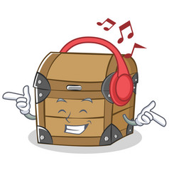 Listening music chest character cartoon style vector