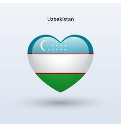 Love Uzbekistan symbol Heart flag icon vector