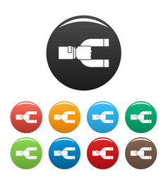 magnet customer retention icons set color vector image