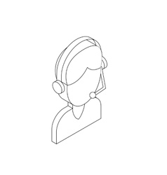Male customer support operator with headset icon vector image