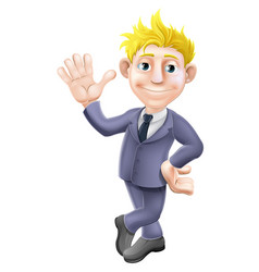 Man in suit waving cartoon vector