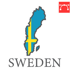 Map sweden flag color line icon vector