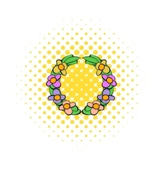 Memorial wreath of flowers icon comics style vector image
