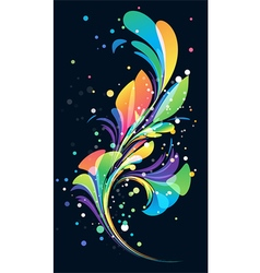 Multicolored abstract floral element on black back vector image