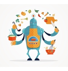 Multitasking robot chef baking and cooking vector