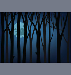 night and a large moon luminous between trees vector image