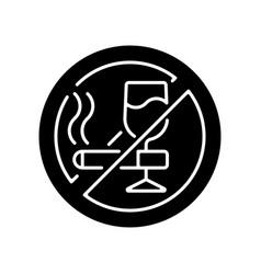 No alcohol and cigarettes black glyph icon vector