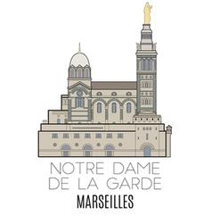 Notre Dame De La Garde Marseilles vector