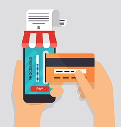 Online and mobile payments concept Human hand vector