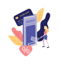 online shopping and payment with credit card vector image