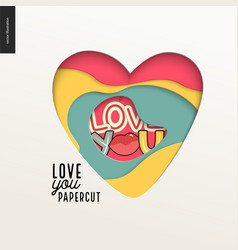 Papercut - colorful layered heart vector