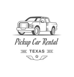 pickup car rental logotype vector image