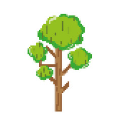 Pixelated natural tree branches leaves style vector