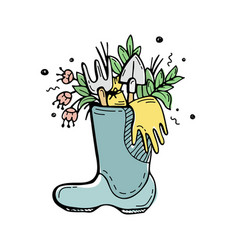 Plants and flowers gardening tools in a rubber vector