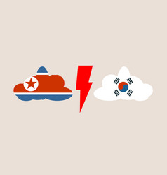 relationships between south korea and north korea vector image