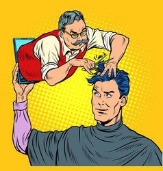 Remote work online help a male barber makes vector