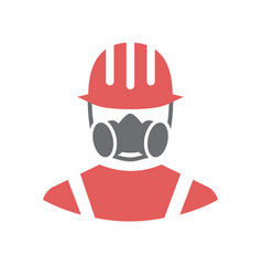 Safety gas dust protection mask icon on white vector