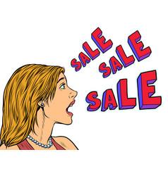 sale pop art woman announcement vector image