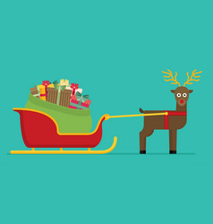 santa sleigh with gifts and presents with vector image