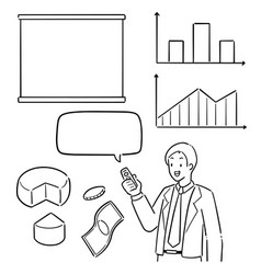 set businessman and business icon vector image