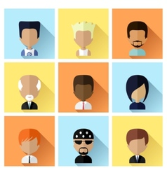 set men faces icons in flat design vector image