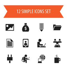 set of 12 editable office icons includes symbols vector image