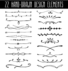 Set of hand-drawn line border dividers and design vector