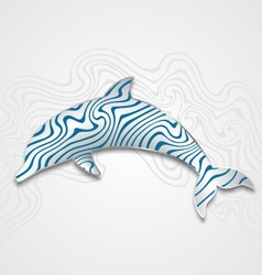 Silver dolphin with waves vector