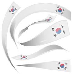 south korea flag set isolated on white background vector image