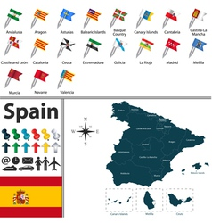 Spain map with flags vector