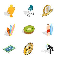 Sport winner icons set isometric style vector