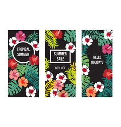 summer banner set with tropical leaves and flowers vector image