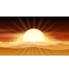 Sunset desert background or sunrise over sandy vector