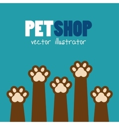 Symbol pet shop paw print brown icon vector