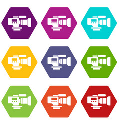 tv camera icons set 9 vector image