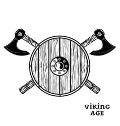 two crossed battle viking axes and viking shield vector image