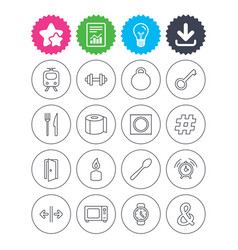 universal icon fitness dumbbell key and candle vector image