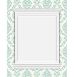Vintage frame moldings on retro wallpaper vector