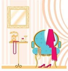 Vintage ladies dressing room interior background vector