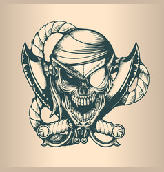 vintage pirate skull monochrome hand drawn tatoo vector image