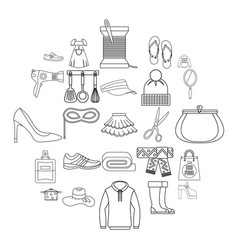 walking to clothes icons set outline style vector image