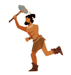 warrior or hunter running with tool or weapon vector image