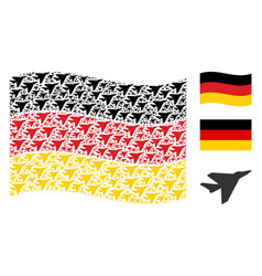 Waving german flag collage of airplane intercepter vector