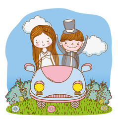 Wedding couple on car cute cartoon vector