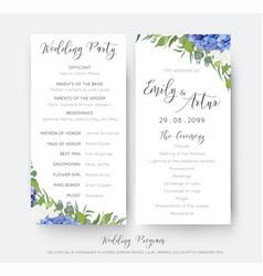 Wedding floral party ceremony program vector