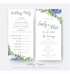Wedding floral wedding party ceremony program vector