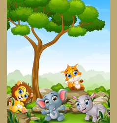wild animal cartoon in the jungle vector image