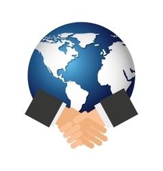 world planet with handshake icon vector image
