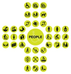 Yellow cruciform disability and people Icons vector image