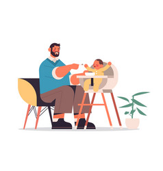 Young father feeding his little son on kids eating vector